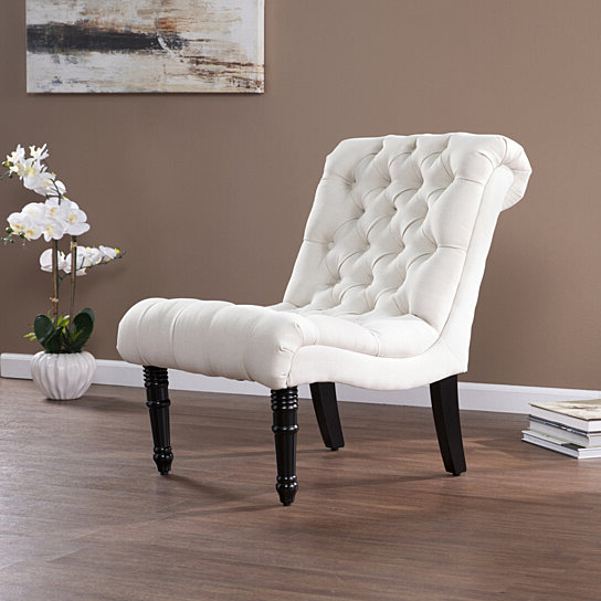 Well Liked Armless Upholstered Slipper Chairs Throughout Ashmire Armless Upholstered Accent Chair Cream (View 29 of 30)