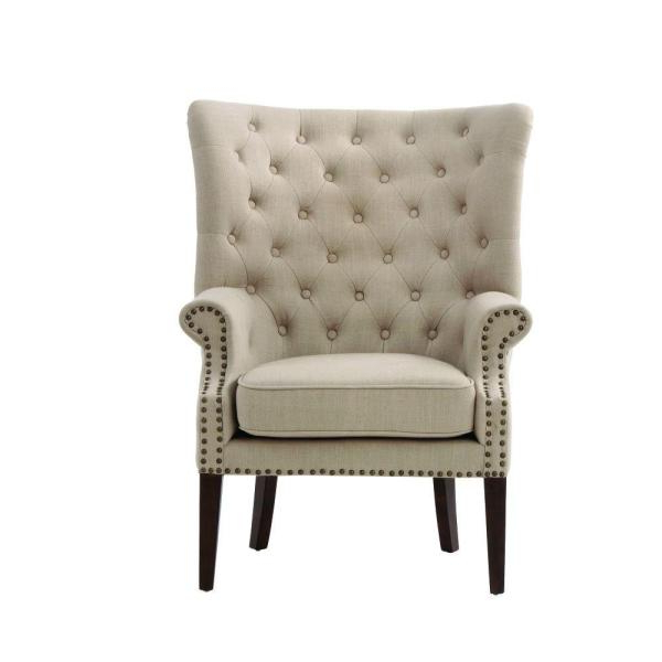 Well Liked Home Decorators Collection Ernest Dark Beige Polyester Arm In Leia Polyester Armchairs (View 12 of 30)