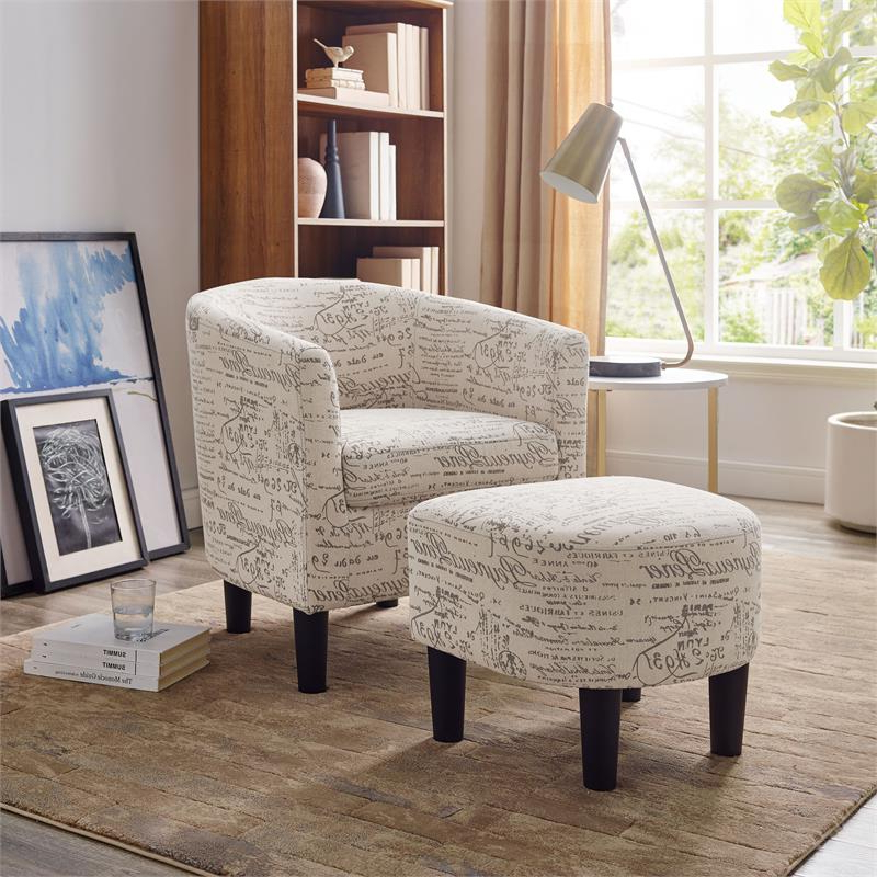 Well Liked Jazouli Linen Barrel Chairs And Ottoman Within Yl Grand Jazouli Microfiber Barrel Accent Chair And Ottoman In Script Beige (View 25 of 30)