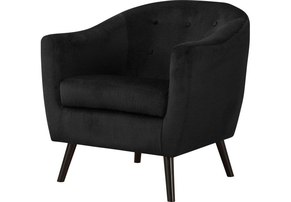 Well Liked Lucea Faux Leather Barrel Chairs And Ottoman With Regard To Black Accent Chairs (View 23 of 30)