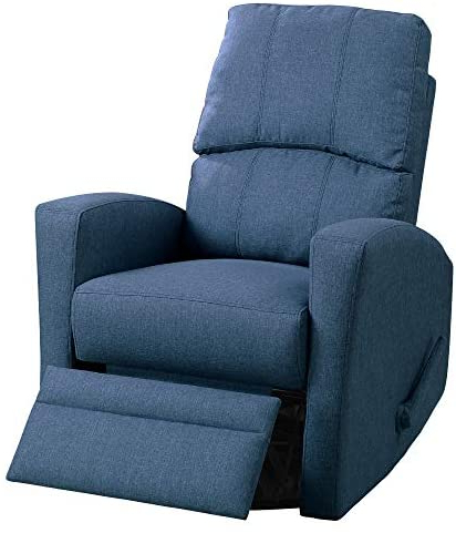 Well Liked Marisa Faux Leather Wingback Chairs Throughout Poundex Marisa Navy Polyfiber Swivel Recliner – Amazon (View 11 of 30)