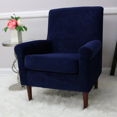 Well Liked Ronald Polyester Blend Armchairs Throughout Andover Mills Ronald Armchair Upholstery Colour: Royal Blue (View 7 of 30)