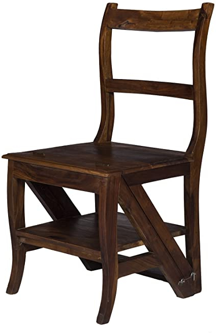 Well Liked Stylla London Smart Design Solid Wood Handmade 2 In1 Chair Steps I Convertible Step Stool & Chair I Library Chair Steps Metamorphic Folding I Unusual Pertaining To New London Convertible Chairs (View 19 of 30)