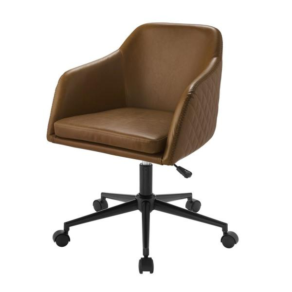 Welwick Designs Whiskey Brown Faux Leather Swivel Barrel Throughout Current Faux Leather Barrel Chairs (View 23 of 30)