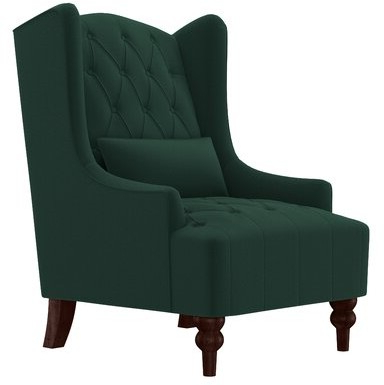 "Wetumka 17"" Wingback Chair Upholstery Color: Emerald Green Velvet With Popular Maubara Tufted Wingback Chairs (View 25 of 30)"