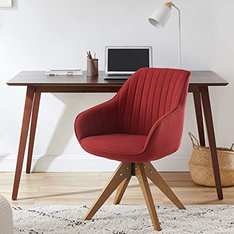 Widely Used Brister Swivel Side Chairs With Regard To Art Leon Mid Century Modern Swivel Accent Chair Cardinal Red With Wood Legs Armchair For Home Office Study Living Room Vanity Bedroom (View 17 of 30)