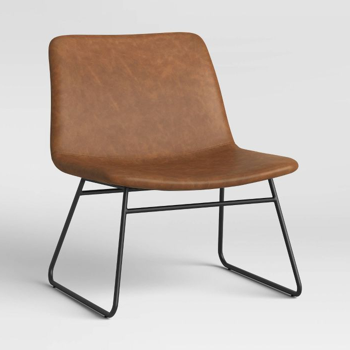 Widely Used Broadus Genuine Leather Suede Side Chairs Intended For Bowden Accent Chair Caramel – Project 62™ (View 28 of 30)