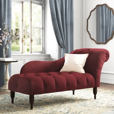Widely Used Elliston Tufted Two Arm Chaise Lounge Fabric: Velvet Berry Polyester With Didonato Tufted Velvet Armchairs (View 22 of 30)