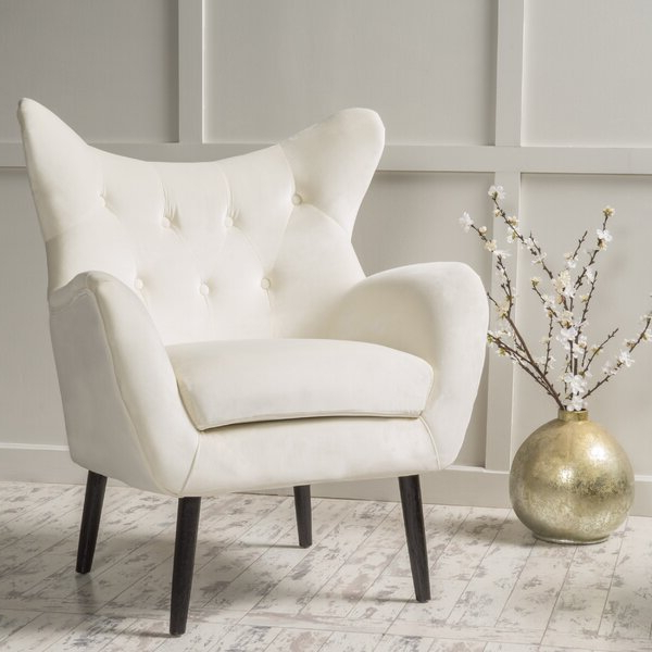 Widely Used Galesville Tufted Polyester Wingback Chairs In Cream Wingback Chair (View 29 of 30)