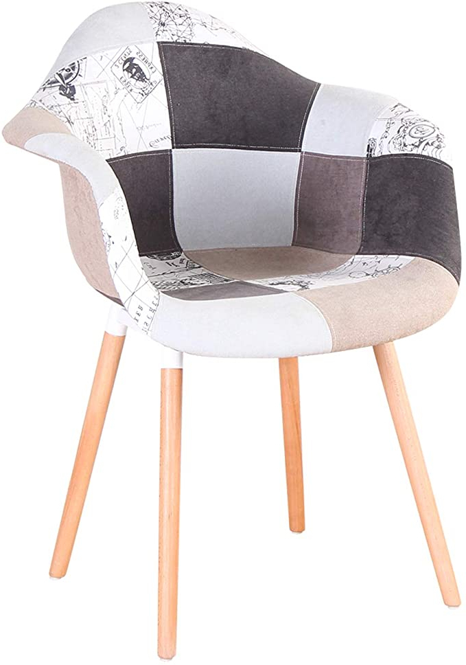 Widely Used Hutchinsen Polyester Blend Armchairs With Regard To N/a Two Piece Patchwork Armchair Linen Fabric Leisure Living Room Corner Reception Chair With Backrest And Natural Wooden Legs Styles (grey) (View 17 of 30)