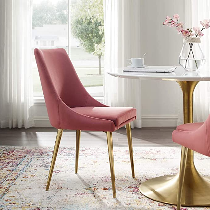 Widely Used Modway Viscount Performance Velvet Dining Side Chair With Gold Stainless Steel Legs In Dusty Rose With Regard To Daulton Velvet Side Chairs (View 13 of 30)