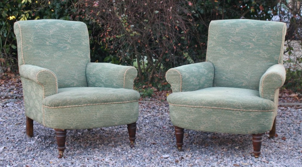 Widely Used Reynolds Armchairs In Pair Victorian Howard Style Long Seat Mahogany Armchairs (View 15 of 30)