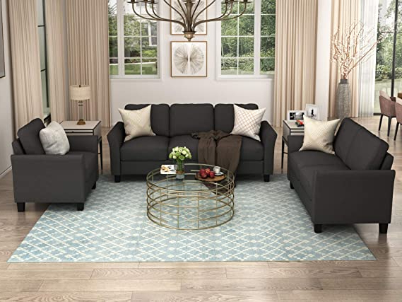 Widely Used Ronald Polyester Blend Armchairs Throughout Merax 3 Piece Sofa Set, 3 Piece Living Room Set Sofa Set Include Armchair Loveseat Couch (View 27 of 30)