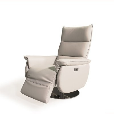 Widely Used Soguda Genuine Leather Power Recliner Upholstery Color: Beige Genuine Leather Pertaining To Riverside Drive Barrel Chair And Ottoman Sets (View 29 of 30)