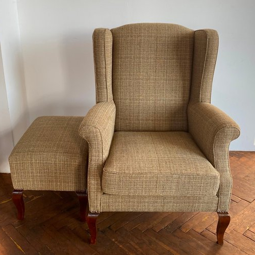 Wingback Chair & Ottoman, 1990s Throughout Newest Busti Wingback Chairs (View 13 of 30)