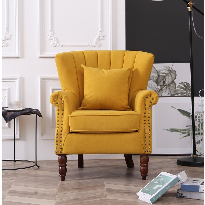 """Xan 29"""" W Velvet Wingback Chair With Regard To Fashionable Lauretta Velvet Wingback Chairs (View 18 of 30)"""