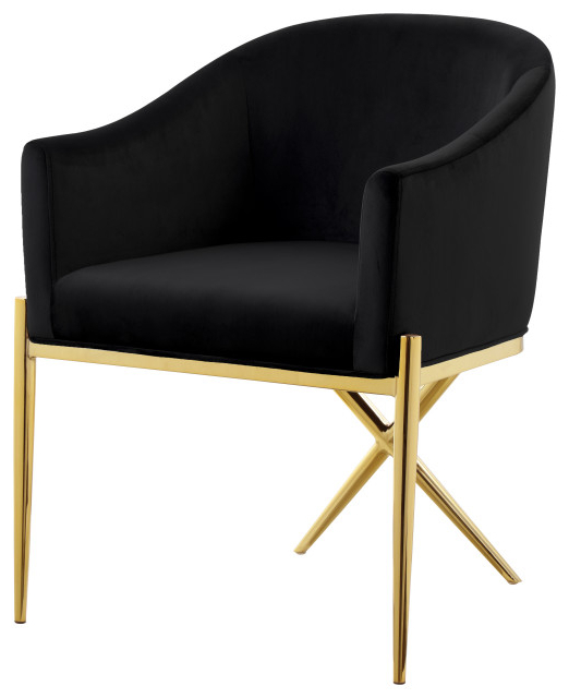 Xavier Velvet Dining Chair, Black, Gold Legs Throughout Most Up To Date Erasmus Side Chairs (View 14 of 30)