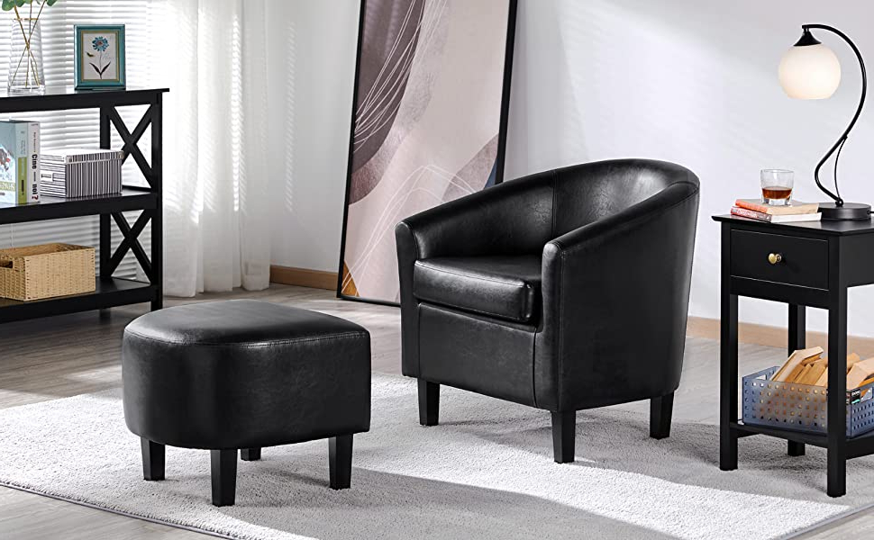 Yaheetech Accent Chair With Ottoman Barrel Tub Chair And Ottoman Set Faux Leather Accent Armchair Lounge Chair With Footrest Set For Living Room In Fashionable Faux Leather Barrel Chair And Ottoman Sets (View 17 of 30)