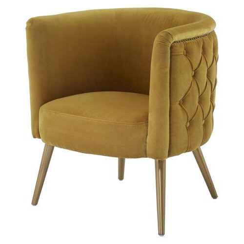 Yellow Accent Chairs, Tub With Famous Alwillie Tufted Back Barrel Chairs (View 14 of 30)