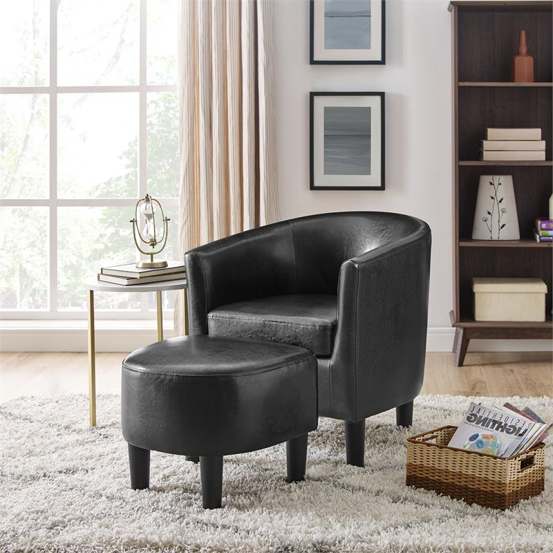 Yl Grand Jazouli Faux Leather Barrel Accent Chair And Ottoman In Black Inside Fashionable Jazouli Linen Barrel Chairs And Ottoman (View 9 of 30)