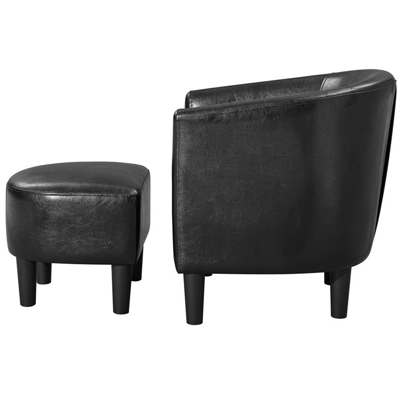 Yl Grand Jazouli Faux Leather Barrel Accent Chair And Ottoman In Black With Popular Jazouli Linen Barrel Chairs And Ottoman (View 30 of 30)