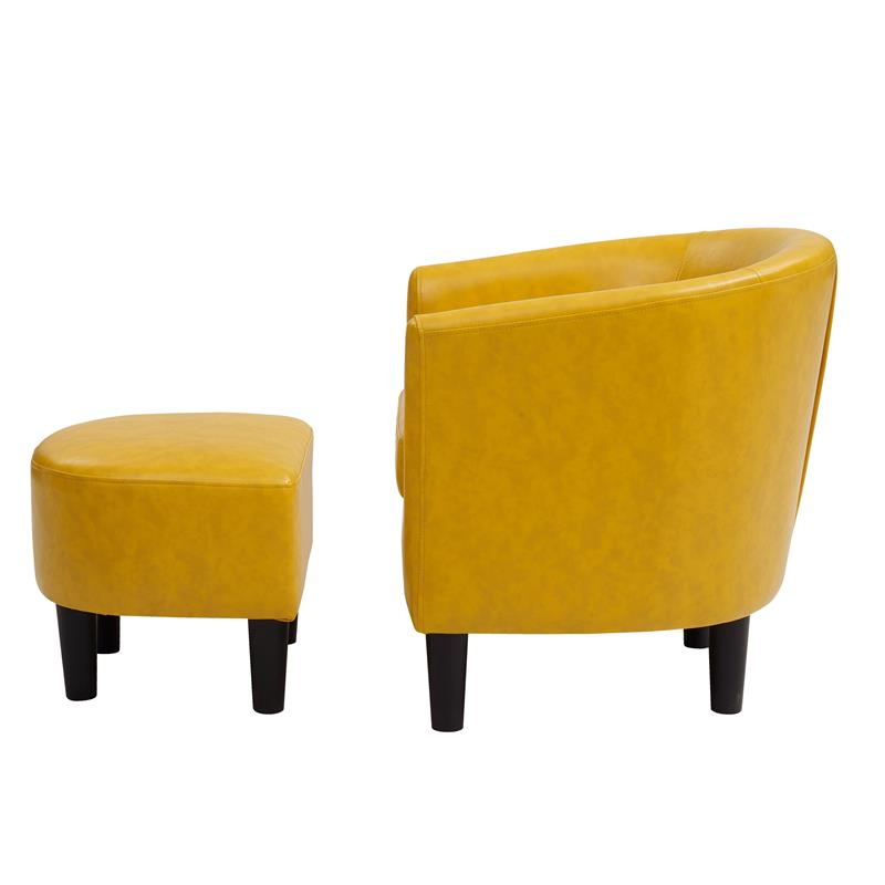 Yl Grand Jazouli Faux Leather Barrel Accent Chair And Ottoman In Yellow Throughout Well Liked Jazouli Linen Barrel Chairs And Ottoman (View 28 of 30)