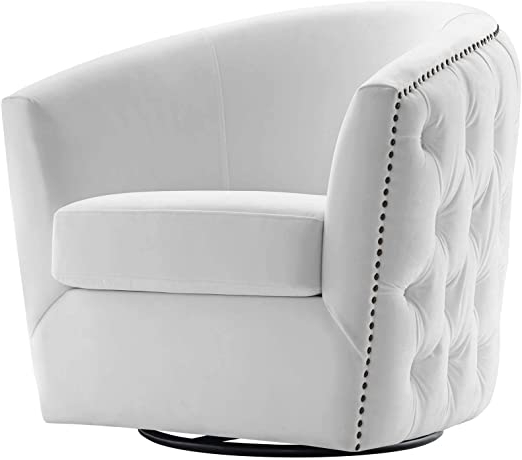 "Ziaa Barrel Chairs Regarding Well Liked Modway Eei 3434 Whi Rogue Performance Velvet Barrel Back Accent Lounge Swivel Chair In White 29""l X 32""h (View 27 of 30)"