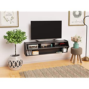 """2019 Jace Tv Stands For Tvs Up To 58"""" Throughout Amazon: Prepac Altus Plus 58"""" Floating Tv Stand, White (View 27 of 30)"""