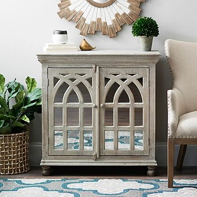 """2019 Kidham 68"""" Wide Sideboards Intended For Whitewashed Mirrored Arch Cabinet (View 10 of 30)"""