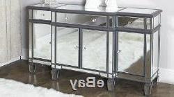 2019 Wales Storage Sideboards Regarding Ritz Mirrored Glass Grey Trim Large Glam Sideboard Dresser (View 25 of 30)