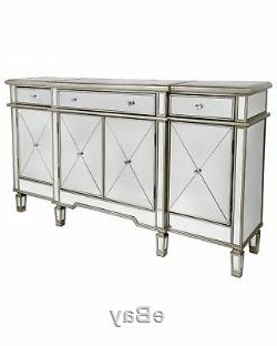 2019 Wales Storage Sideboards With Ritz Mirrored Glass Gold Trim Large Glam Sideboard Dresser (View 18 of 30)