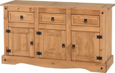 2020 3 Drawer Sideboards Regarding Corona 3 Door 3 Drawer Sideboard – Distressed Waxed Pine (View 14 of 30)