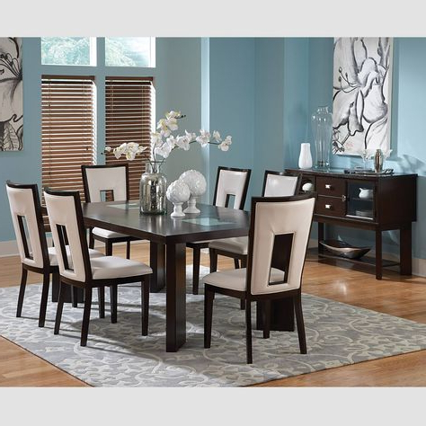 """2020 Aayah 45"""" Wide 2 Drawer Servers For 7pc Broward Dining Set Espresso Cherry – Steve Silver (View 24 of 30)"""