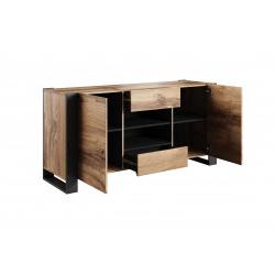 2020 Bmf Wood Sideboard 164cm Wide Doors 2 Drawers Wotan Oak Intended For  (View 13 of 30)