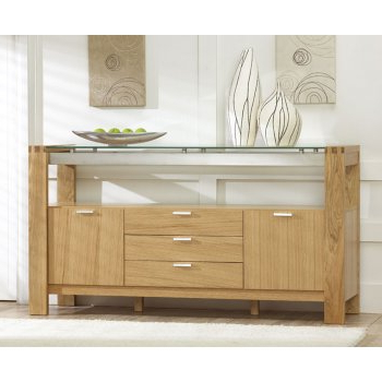 """2020 Frida 71"""" Wide 2 Drawer Sideboards Intended For Mark Harris Roma Solid Oak And Glass 2 Door 3 Drawer (View 12 of 30)"""