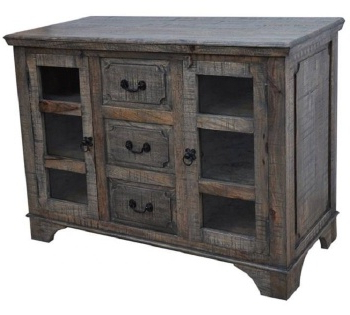 3 Drawer And 2 Door Cabinet With Metal Legs Throughout Well Known 3 Drawer 2 Door Cabinet Mid Century Weathered Wood Cabinet (View 21 of 30)