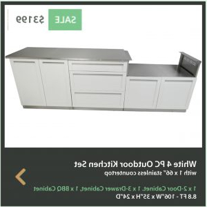 3 Drawer And 2 Door Cabinet With Metal Legs Within Most Current White 6 Pc Bbq Grill Outdoor Kitchen Cabinets: Bbq Grill (View 11 of 30)