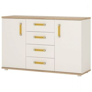 """4 Kids 2 Door 4 Drawer Sideboard In Light Oak And White Inside Most Popular Searsport 48"""" Wide 4 Drawer Buffet Tables (View 23 of 30)"""