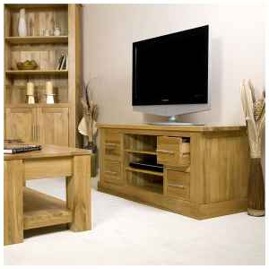 """[%50% Off Solid Oak Tv Cabinet Stand With Drawers 