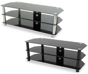 """Alannah Tv Stands For Tvs Up To 60"""" Inside Best And Newest Avf Universal Black Glass Tv Stand 1250mm For Tvs 32"""" To (View 17 of 30)"""