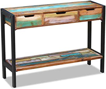 Amazon: Festnight Rustic Console Table With 3 Storage Within Current Tarakan  (View 21 of 30)
