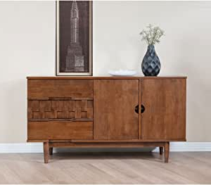 """Amazon – Mid Century Modern 55 Inch Brown Sideboard In Well Known Orianne 55"""" Wide 2 Drawer Sideboards (View 4 of 30)"""
