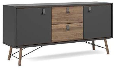 """Amazon – Tvilum Door, 2 Drawer Sideboard, Black Matte With Regard To Recent Miruna 63"""" Wide Wood Sideboards (View 25 of 30)"""