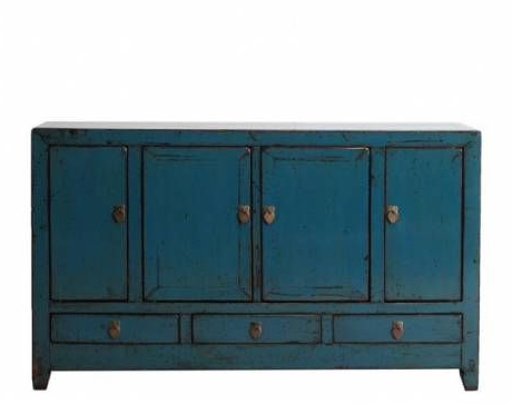 """Antique Chinese Deep Teal Buffet With Four Upper Cabinet Regarding Most Recently Released Desirae 48"""" Wide 2 Drawer Sideboards (View 19 of 30)"""