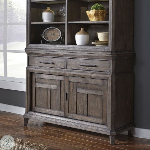 """Artisan Prairie Wirebrushed Aged Oak Sliding Door Buffet Intended For Latest Marple 42"""" Wide 2 Drawer Servers (View 2 of 30)"""