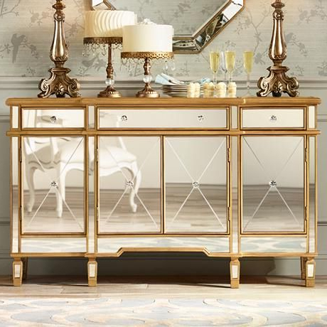 """Bailey 60"""" Wide 4 Door Gold Mirrored Buffet Console In Fashionable Eskew 60"""" Wide Sideboards (View 30 of 30)"""