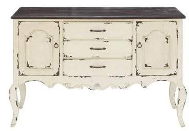 """Beige Decmode 48 X 33 Farmhouse & Brown Wood Cabinet W/ 3 Regarding Most Popular Searsport 48"""" Wide 4 Drawer Buffet Tables (View 15 of 30)"""