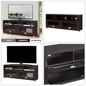"""Berene Tv Stands For Tvs Up To 58"""" Inside Newest Tv Stand Cabinet Shelves Storage Glass Doors Espresso (View 3 of 30)"""