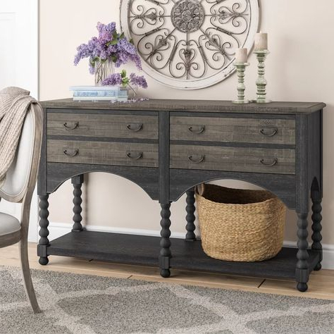 """Best And Newest Largent 64"""" Wide 4 Drawer Buffet Table (View 6 of 30)"""