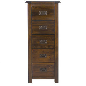 """Boston Dark Pine Bedroom – 5 Drawer Narrow Chest + Free Uk Intended For Most Popular Kinston 74"""" Wide 4 Drawer Pine Wood Sideboards (View 18 of 30)"""